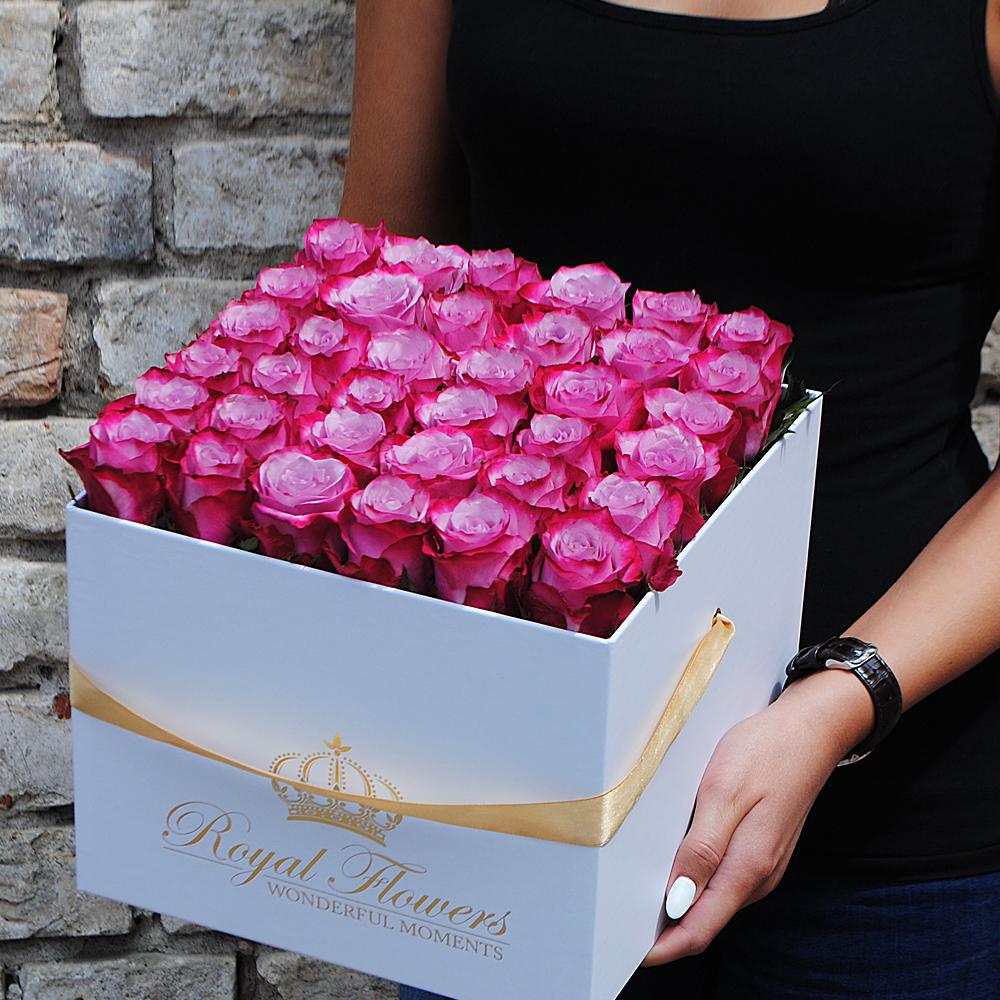 Violetinės rožės dėžutėje