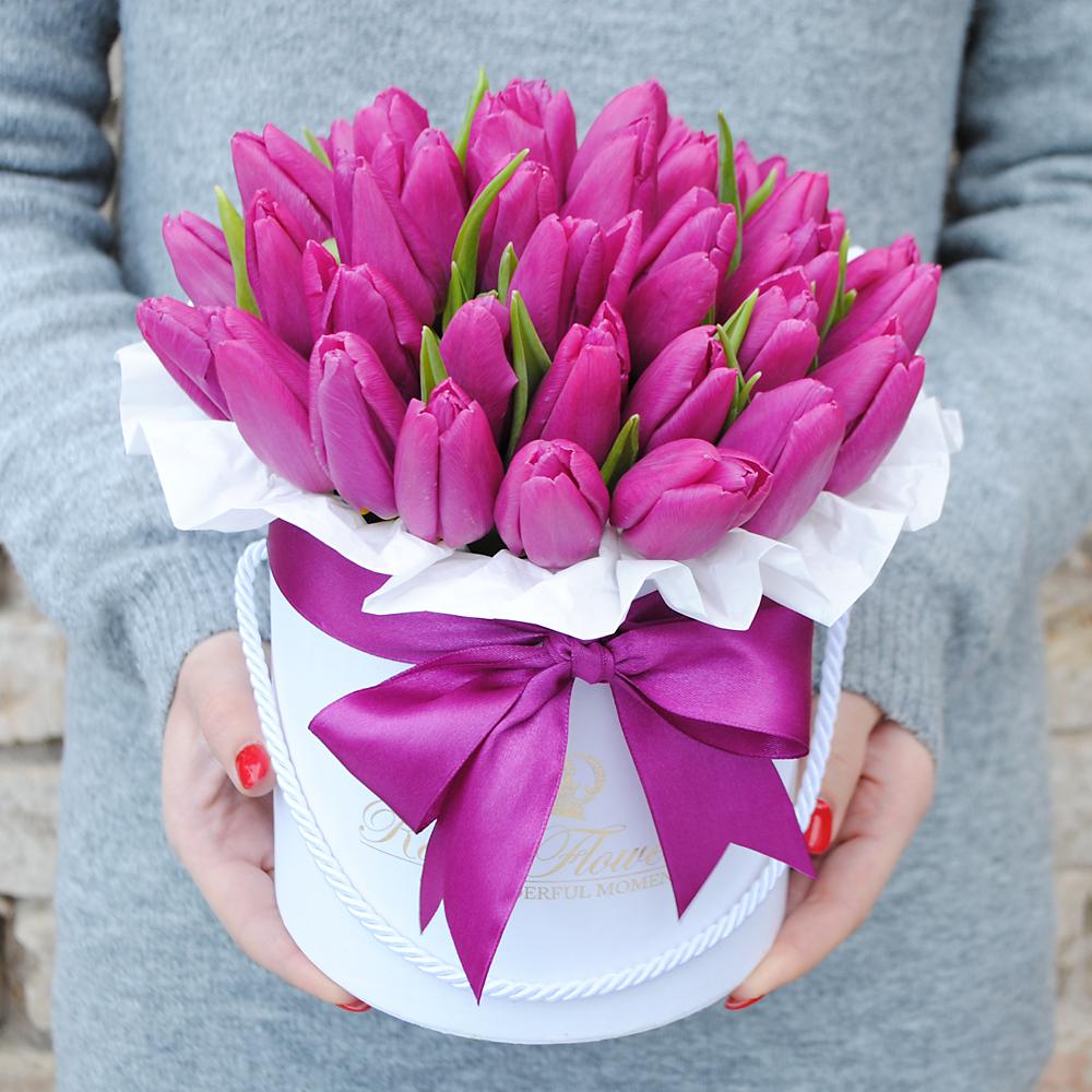 Violetinės tulpės dėžutėje AB/M