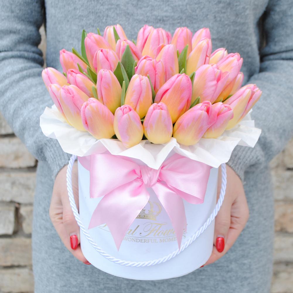 Rožinės tulpės dėžutėje AB/M