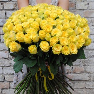 101 geltonų rožių puokštė